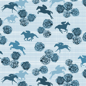 Horses And Roses Blue