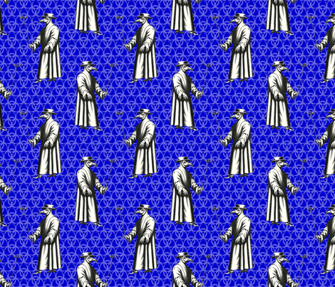 Custom Requests - Plague Doctor on Blue Trefoils fabric by ameliae on Spoonflower - custom fabric