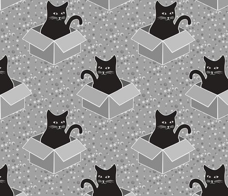 Monochrome Cat Medium fabric by ameliae on Spoonflower - custom fabric
