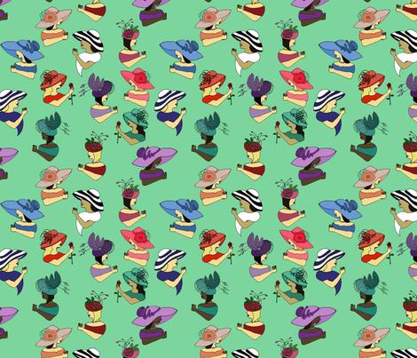 Fancy Hat Ladies fabric by laurenjdelgado_ on Spoonflower - custom fabric