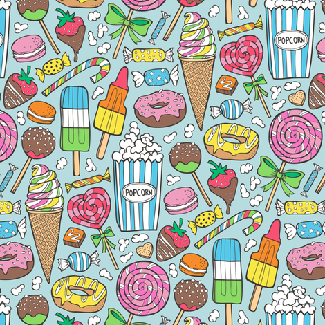 Sweets,Ice Cream,Donuts and Candy Smaller 2,5-3 inch fabric by caja_design on Spoonflower - custom fabric