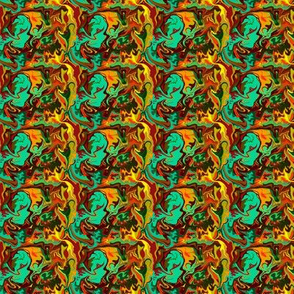 BN12 -  Abstract Marbled Mystery in  Orange - Green - Turquoise - Yellow - Rust - small scale