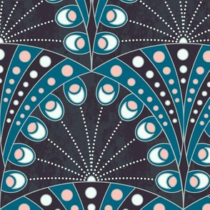 art deco peacock feathers coral and blue