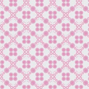 Pink spirals on grey