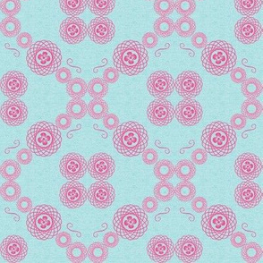 Pink spirals on turquoise