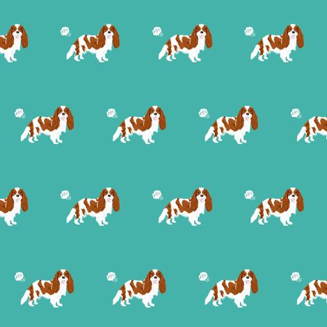 cavalier spaniel fart funny dog breed fabric teal fabric by petfriendly on Spoonflower - custom fabric