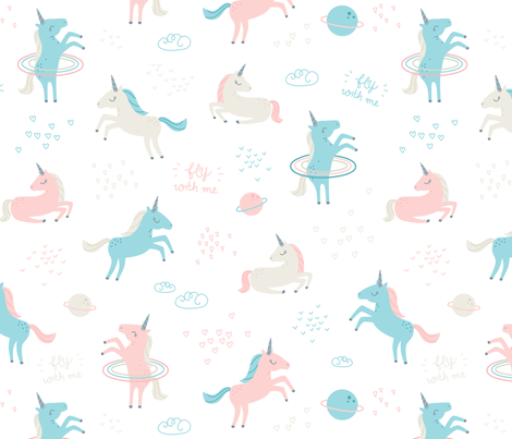 Unicorns in space soft pink blue beige small fabric for Space unicorn fabric