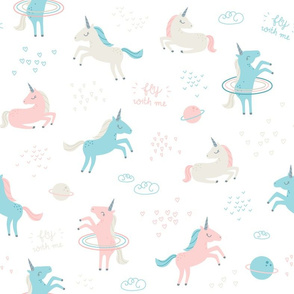 Unicorns in Space - soft pink, blue, beige - SMALL