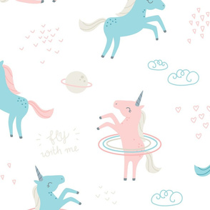 Unicorns in Space - soft pink, blue, beige - BIG