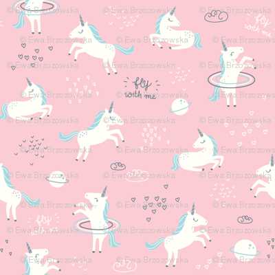 Unicorns in space pink small fabric ewa brzozowska for Space unicorn fabric