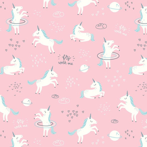Unicorns in Space - pink - SMALL