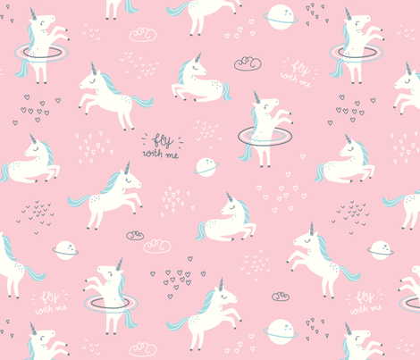 Unicorns in space pink big fabric ewa brzozowska for Space unicorn fabric