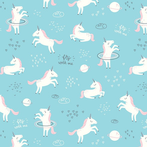 Unicorns in Space - blue - SMALL