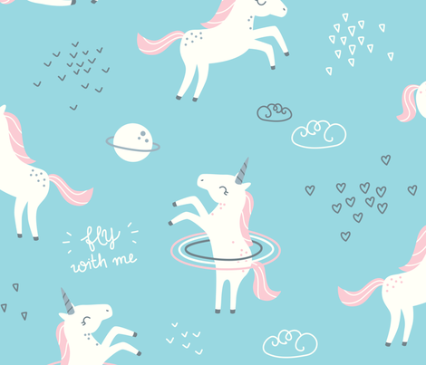 Unicorns in space blue big fabric ewa brzozowska for Space unicorn fabric