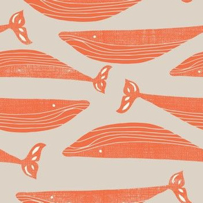 Textured Orange whales