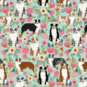 aussie florals (smaller) cute mint australian shepherd dogs fabric cute vintage flowers aussie dog flowers