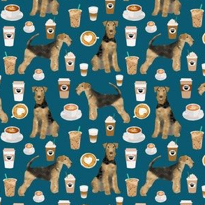 airedale terrier (smaller) dog fabric cute dogs coffee dogs fabric coffee fabric