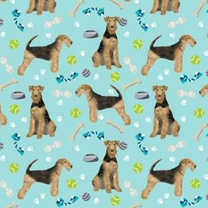 Airedale Terrier toys (smaller) dog breed fabric light blue