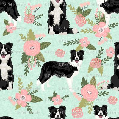 border collie pet quilt d(smaller) quilt coordinate dog breed nursery fabric floral