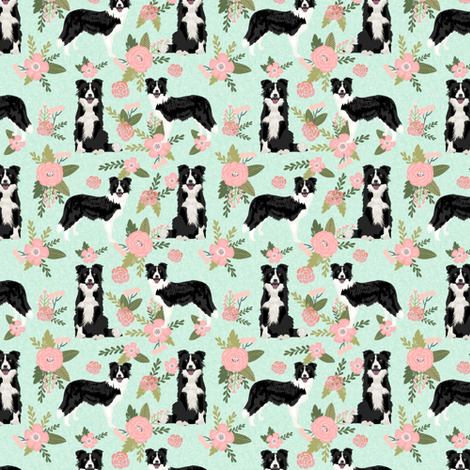 border collie pet quilt d(smaller) quilt coordinate dog breed nursery fabric floral fabric by petfriendly on Spoonflower - custom fabric