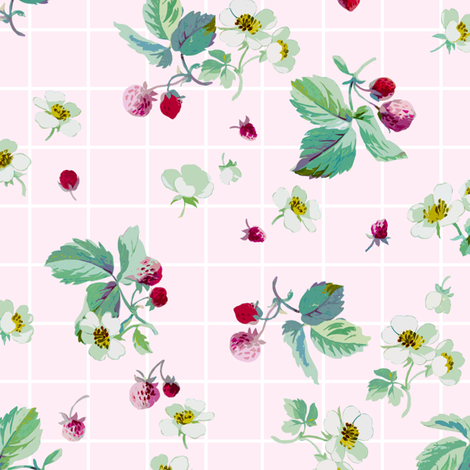 Strawberry Summer sorbet fabric by lilyoake on Spoonflower - custom fabric