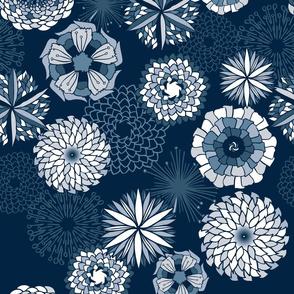 Flowers in happy blue monochrome