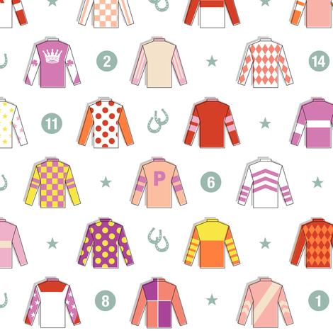 Jockey Around* || horse race races racing jockey horseshoe horseshoes uniform geometric stars fabric by pennycandy on Spoonflower - custom fabric