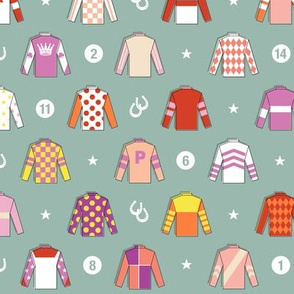 Jockey Around* (Camouflage) || horse race races racing jockey horseshoe horseshoes uniform geometric stars