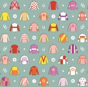 Jockey Around* (Camouflage) || horse race races racing jockey horseshoe horseshoes uniform geometric stars