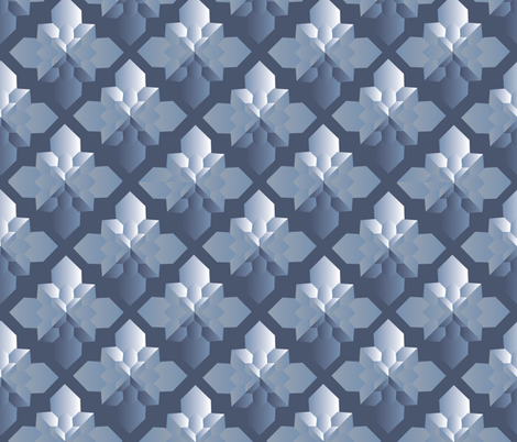 Origami Square Flowers blue monochrome fabric by colour_angel_by_kv on Spoonflower - custom fabric