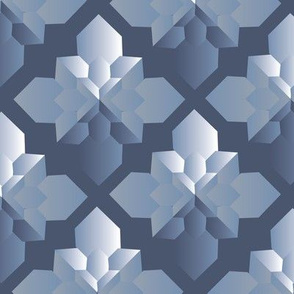 Origami Square Flowers blue monochrome