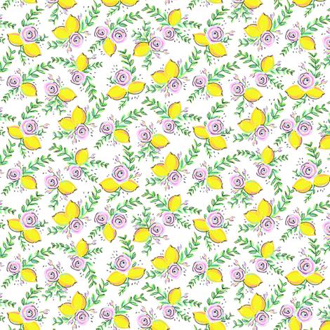 Sweet Spool Designs Lemon Rose small fabric by sweetspooldesigns on Spoonflower - custom fabric