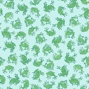 small serene frogs - green on light blue