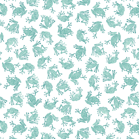 small teal frogs on white fabric by weavingmajor on Spoonflower - custom fabric