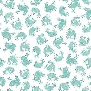 small teal frogs on white