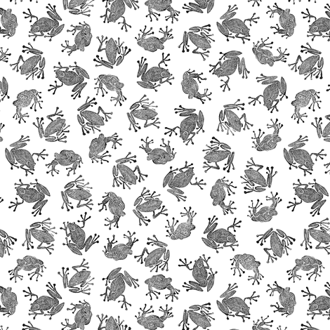 small frogs - black and white fabric by weavingmajor on Spoonflower - custom fabric