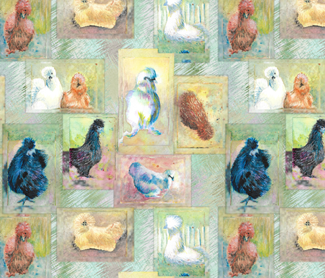 Fluffball Silkie Chickens on the Green fabric by bloomingwyldeiris on Spoonflower - custom fabric