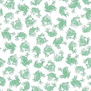 plague of small frogs - green on white
