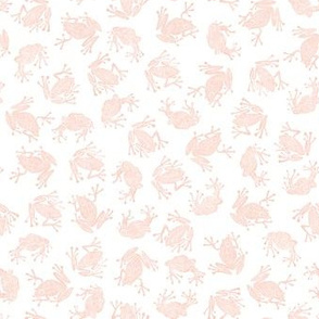 small frog princesses - peach on white