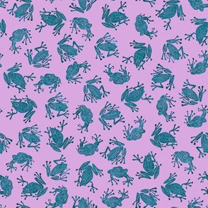 small mad teal frogs on lavender