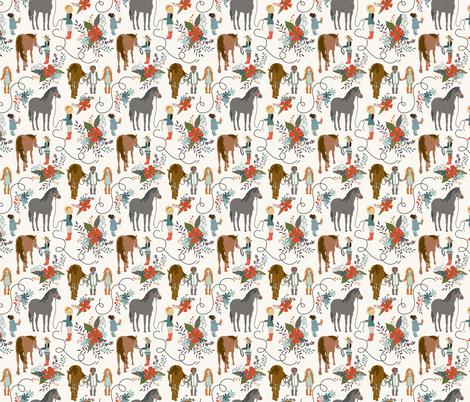 Dreaming - small - HWhite- horses, kids, riding, girls will horses fabric by fernlesliestudio on Spoonflower - custom fabric