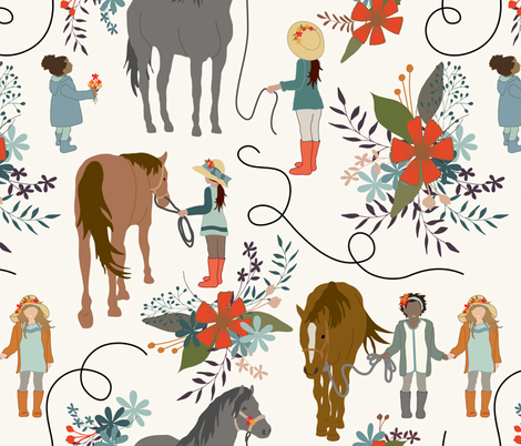 Dreaming - Horses and Girls fabric by fernlesliestudio on Spoonflower - custom fabric