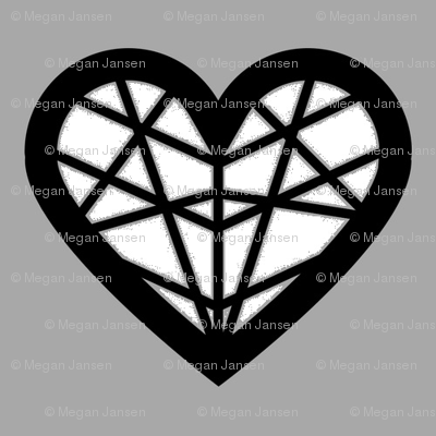White & Gray Geometric Heart