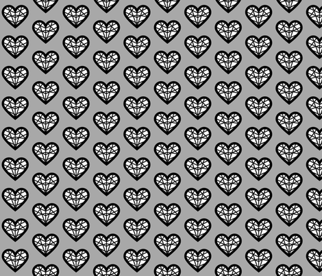 White & Gray Geometric Heart fabric by meganjayne on Spoonflower - custom fabric