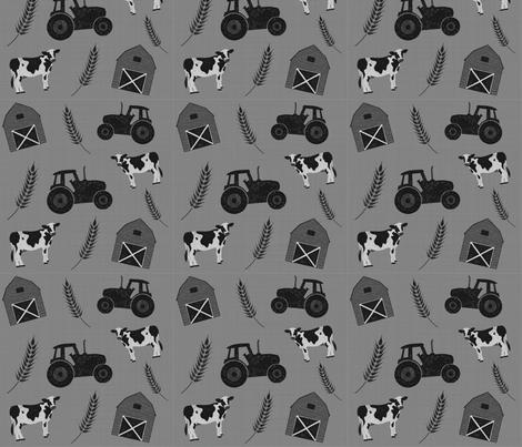 Farm - Monochrome fabric by courtneyrosedesign on Spoonflower - custom fabric