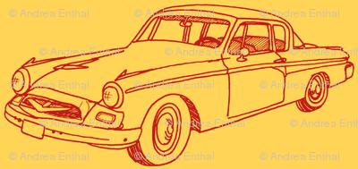 1955 Studebaker (red on goldenrod orange)