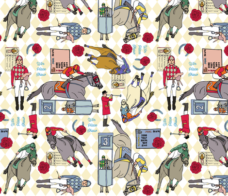 Win, Place Show, At the Horse Races fabric by palifino on Spoonflower - custom fabric