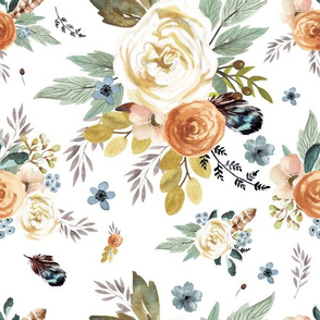 "12"" Western Autumn / More Florals / White"