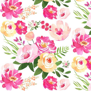 Big Floral White - Watercolor Floral