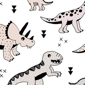 Cool Scandinavian kids dino friends dinosaur pattern gender neutral LARGE Jumbo